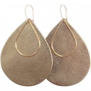 leather - earrings- gold rush