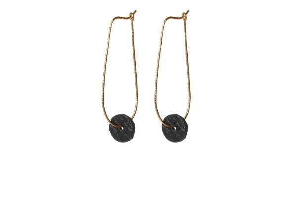 oorbellen - zwart leer - gold filled - moo's loveswing