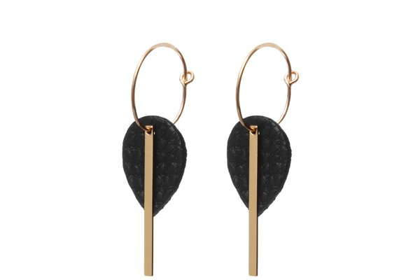 black leather earrings - gold filled