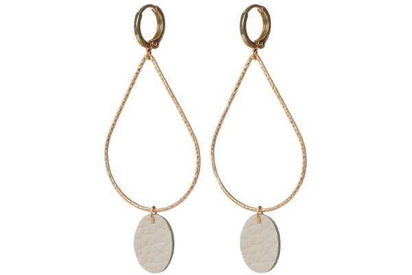 cream leather earrings