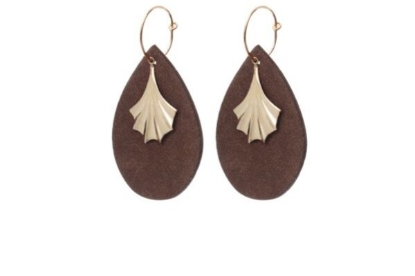 Suède brown earring - gold filled