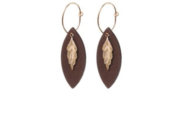 suede brown earrings - gold filled