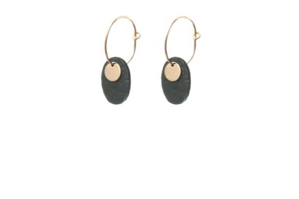 dark green leather earrings - gold filled