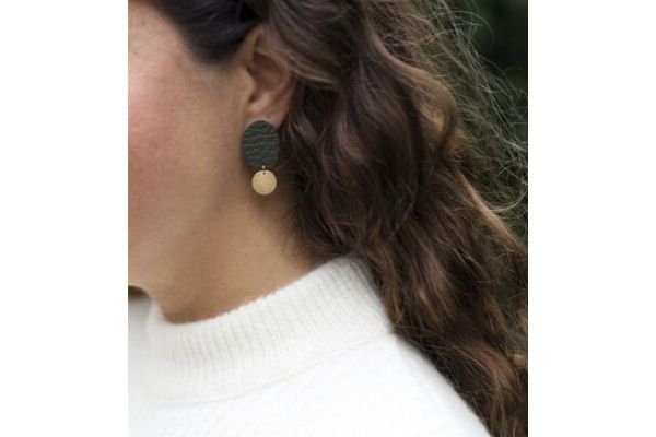 dark green leather - gold filled - earrings