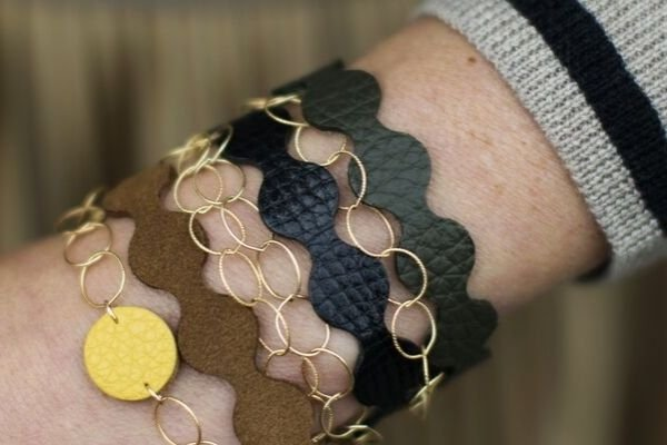 leather + gold filled bracelets