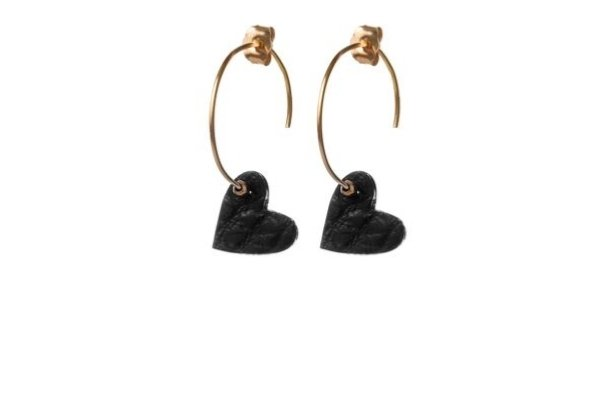black leather - gold filled earrings