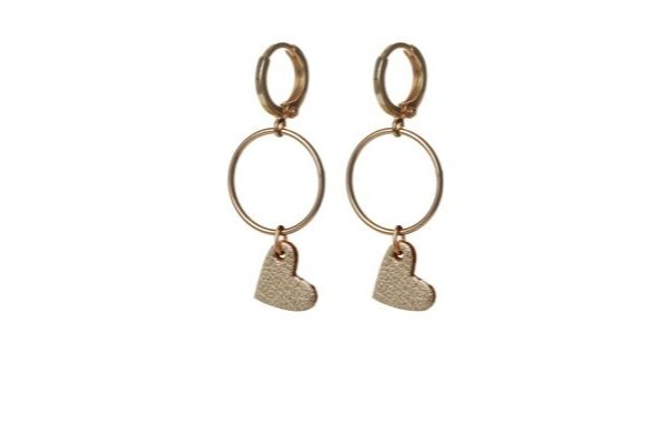 gold leather - gold filled - earrings