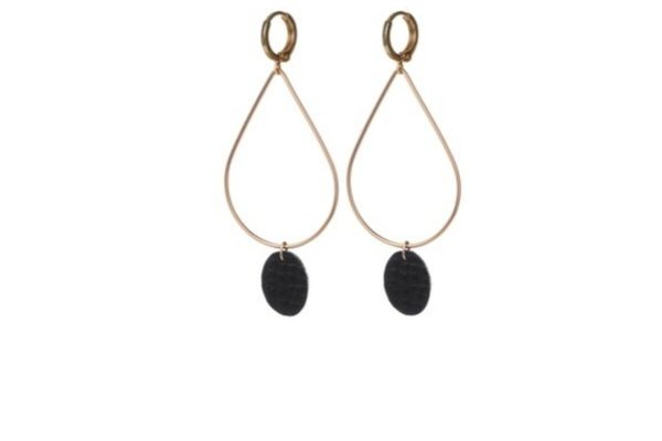 leather - black - gold filled - earrings