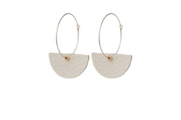 cream leather - earrings - gold filled