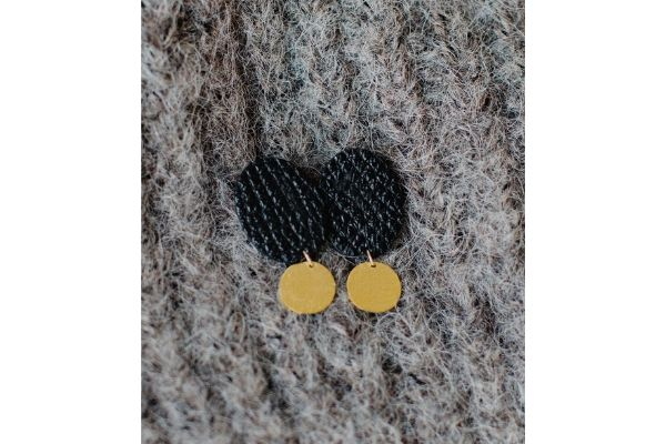 lady lucy earrings - leather - gold filled