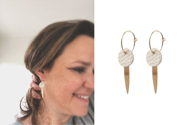 earrings - leather - gold filled