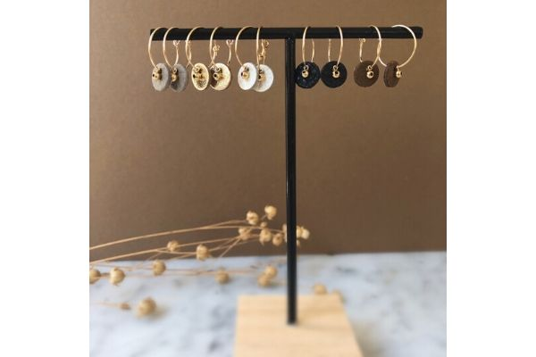 leather - gold filled - earrings
