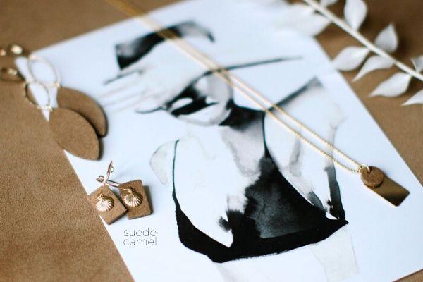 suede camel - earrings - handmade