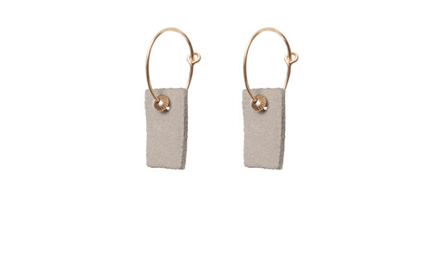 suede beige - earrings - gold filled