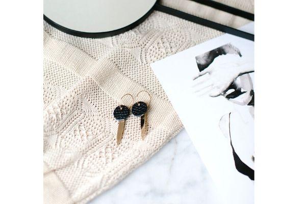 black leather - handmade earrings