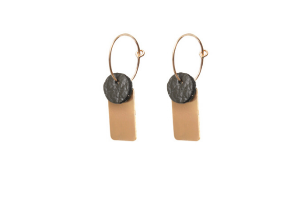 leather - gold filled - earrings - minimalistic