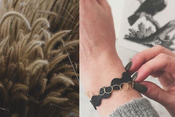 armband forever - zwart leer - gold filled