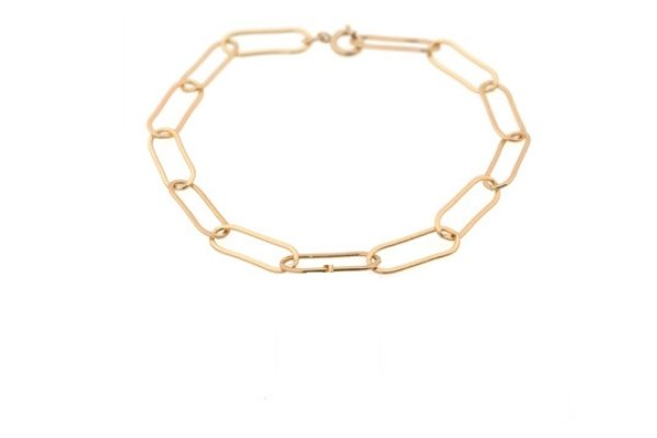 schakelarmband - gold filled - single rosa
