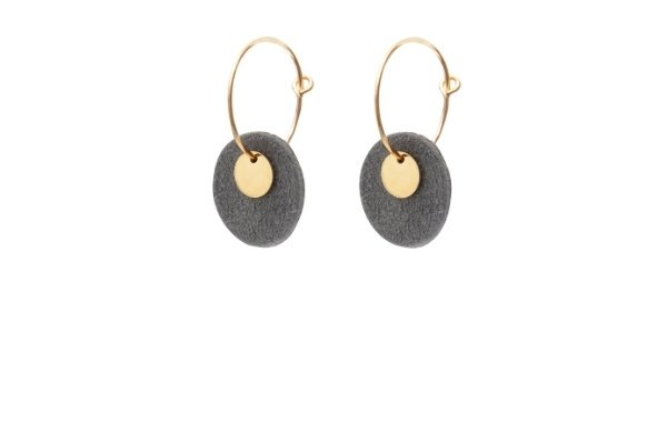 oorbellen - mini eye on you - suede blue-grey leer - gold filled