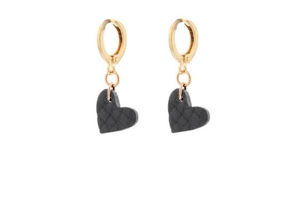 zwart leer - gold filled - handgemaakte oorbellen