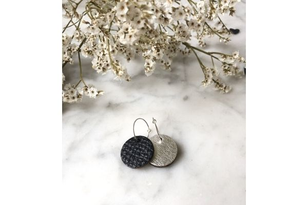 confetti love - reversible oorbellen - zilver