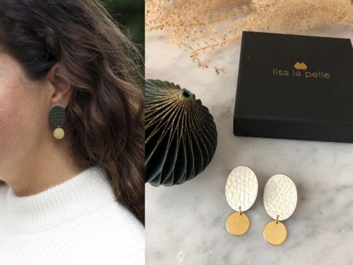 lady lucy oorbellen - creme leer - gold filled