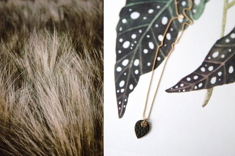 ketting - julia's mini me - gold filled - groen leer